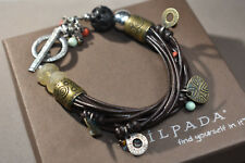 SILPADA RARE  B1889 BROWN LEATHER BRASS CORAL PEARL BRACELET STERLING SILVER