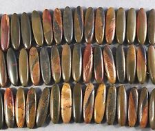"DARK PICASSO JASPER 8X30MM 2-HOLE MARQUISE BRACELET BEADS 16"" STR"