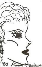 "Jayne Meadows Handdrawn Self-Portrait Sketch (5"" x 8"") Signed w/ Coa"