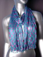 NEW UNIQUE Silky Lightweight Teal Blue Fuchsia Pink Polka Dots Crinkled Scarf