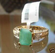 CERTIFIED RING WITH 0.1CTW DIAMONDS & 2.30 CTW EMERALDS