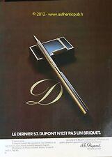 PUBLICITE ORIGINALE 1973  BRIQUET STYLO S.T. DUPONT ORFEVRE FRENCH AD