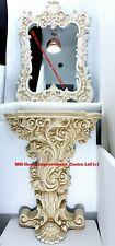Antique Italian Style Replica Console Table Mirror Set Cream Shabby Chic Design