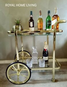 DRINKS TROLLEY BAR CART GOLD TEMPERED GLASS SHELVES WINE WHISKEY STORAGE