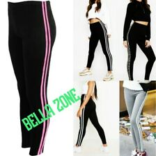 Leggings with Subtle Shimmer Side Stripe Stretchy Fleecy Party Wear Sports M//L