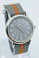 Mens TIMEX Weekender Gray/Orange Silver Tone Classic Quartz Watch Indiglo T2N649