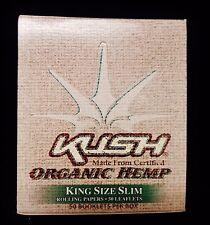 Full Box 50 Packs KUSH Organic ECO Hemp King Size Slim Cigarette Rolling Papers