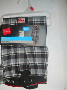 Hanes Men's Tagless Comfort Flex Woven Pant Black Plaid Size Small (B39)