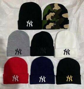 Unisex Women Men NY New York Yankees Baseball Plain Girl Fashion Beanie Hat cap