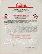 HAMBURG, Gebrauchsanweisung 1925, Lehmann & Voss Molkerei Käserei Trocken-Quark