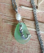 Mermaid Green Sea Glass Necklace Freshwater Pearl Hand Crafted Ocean Theme Beach