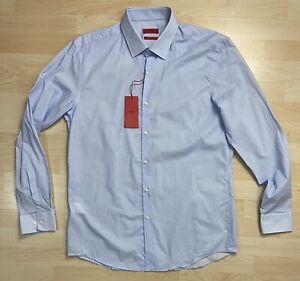 Hugo Boss Herren Hemd 43 Hellblau Slim Fit C-Jenno Kent Langarm NEU
