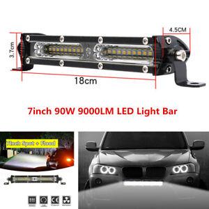 "7"" 90W Work Light Bar Spot Flood Beam Combo For Car Off-road Driving Fog Lamp"