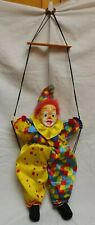 Large String Puppet/ Marionette Male Circus Clown on Swing Diamond Cheeks