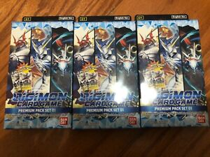Digimon Trading Card Game English Premium Pack 01: 4 Boosters + 2 Promo lot of 3