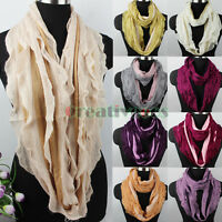 Fashion Women's 2-Tone Striped Wrinkled Soft Wool Infinity Loop Cowl Scarf New