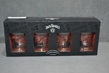 Brand New Limited Edition Jack Daniel's 4 x Glass Tumblers Guitar Drums Bass Mic