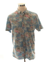Barney Cools Blue Floral Woven Button Down Short Sleeve Shirt Size XL