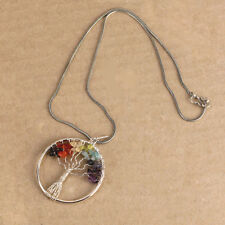 Tree Of Life Silver Necklace Chain Rainbow Gems Stones S-Hook Clasp Hippy Gypsy