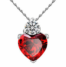 Mothers Day 925 Silver Ruby Red Made With Swarovski Elements Heart Necklace, 18""