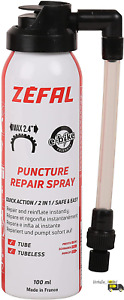 Zefal 1126 Repair Spray Instant Inflation For Punctures Up To 2mm Black, 100Ml