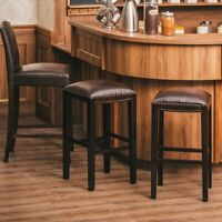 "Set of 2 Upholstered Saddle Seat 30""H Bar Stools Dining Kitchen Bistro Pub Chair"