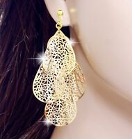 "#E122L New 2.8"" Long CLIP ON EARRINGS Gold Plated Filigree Leaf Chandelier Drop"