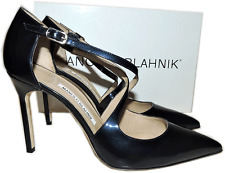 Manolo Blahnik Tugia Navy Blue Patent Leather Pump Pointed Toe Shoe 39.5 -9