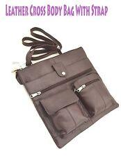 Women's Ladies Leather Cross-Body Bag Messenger Strap Multiple Compartments Bag