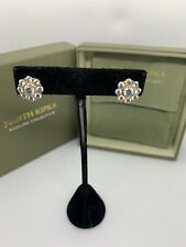 Judith Ripka 925 Sterling Silver CZ Flower Stud Earrings Clip On