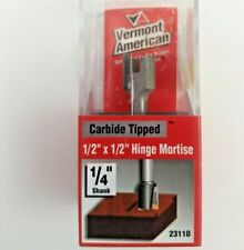 """Vermont American 23110 1/2"""" x 1/2""""-1/4"""" Shank Hinge Mortise Carbide Router Bit"""