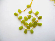 Olive jade faceted flat briolette beads 9x14mm. Natural gemstone beads