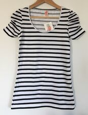 NEW ZARA WOMENS T SHIRT BLACK WHITE BRETON STRIPE FITTED TEE TOP M 8 10 C44