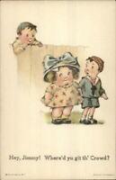 Boys & Girl Cute Kids Charles Twelvetrees c1915 Postcard
