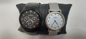 Skagen 856XLBLB Mens Black/Leather Watch (New battery) Sapphire.Denmark lot of 2