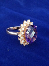 Ladies Amethyst, Diamond &14k Rose Gold Ring