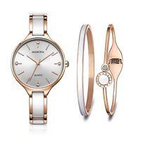Ensemble cadeau montre pour femme et bracelets OR ROSE assortis de cristaux