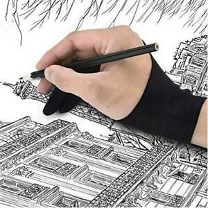 Black 2 Finger Artist Glove Anti-fouling for Drawing Painting Digital Tablet /