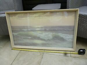 Vintage Framed 1960s E D MANDON 'Song Of The Surf' Print approx 85x46cm