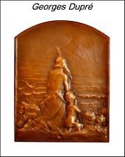 RARE ART NOUVEAU FRENCH SIGNED DUPRE BRONZE MEDAL - BOOK PIECE 'SALUT AU SOLEIL'