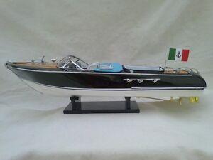 "New Riva Aquarama 21"" White-Blue Quality Wood Model Boat L50 Christmas Gift"