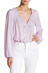 Free People Womens Jezebel F17G00903 Bodysuit Relaxed Purple Size XS