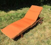 Monzone Bali Fabric Sunlounger Cushion Orange With Yellow Trim 1950x625x4mm