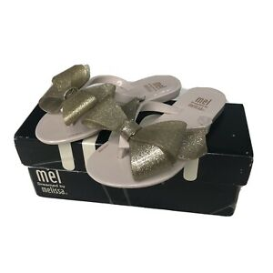 NEW Mel Dreamed by Melissa Girls Sandals Gold Sparkle Harmonic Bow III Beige 11