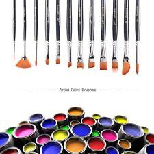 Best Paint Brush Set Round Pointed Tip Nylon Hair artist acrylic brushes 12 pcs