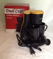 New Dual Cup Coffee Maker Automatic Drip Matching Porcelain Cups RV Hotel Camper