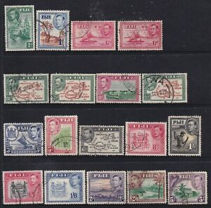 FIJI 1938-1955 SET TO 5/- WITH VARIOUS DIES SEEN USED VIEW ALL FOUR SCANS