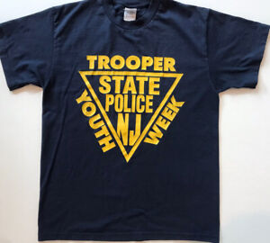 Vintage New Jersey State Trooper Youth Week T Shirt Blue M Police Best 90s