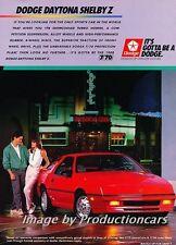 1988 Dodge Daytona Shelby Z Original Advertisement Print Art Car Ad J762