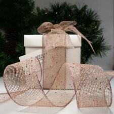 NEW QUALITY CHRISTMAS RIBBON WIRE EDGED ROSE PINK GLITTER CRAFT BOWS 'BLUSH'